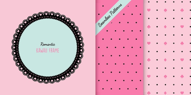 Romantic lace frame and two seamless patterns premium vector