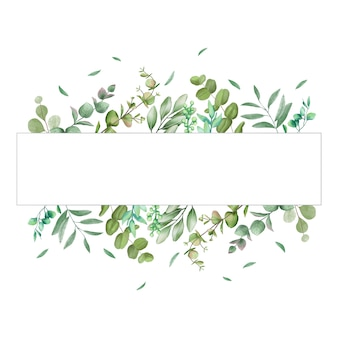 Romantic leaves frame for wedding invitation