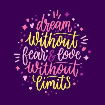 Romantic lettering message design