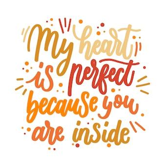 Romantic lettering message