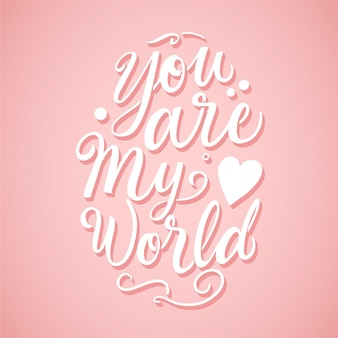 Romantic lettering with pink background