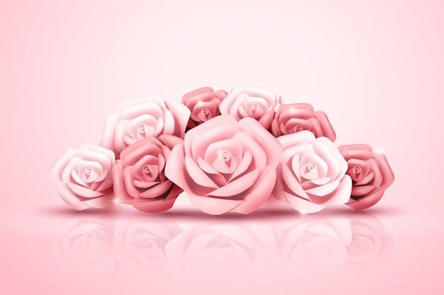 Romantic light pink paper rose in 3d illustration
