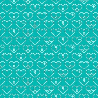 心とロマンチックなラインのシームレスなパターン