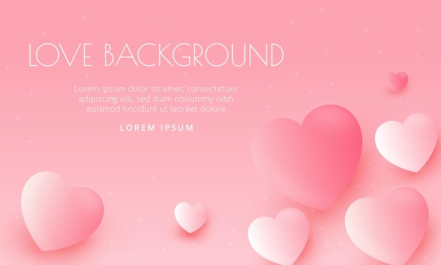 現実的な3dハートとロマンチックな愛の背景はバレンタインバナーに使用できます