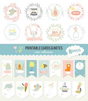 Romantic and love cards, notes, stickers, labels, tags with spring illustrations. template for scrapbooking, wrapping, congratulations, invitations.  wishes with cute animals, flowers and sweets