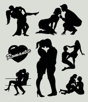 Romantic love couple silhouette