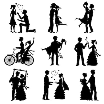 Romantic love couples vector silhouettes