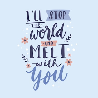 Romantic love lettering