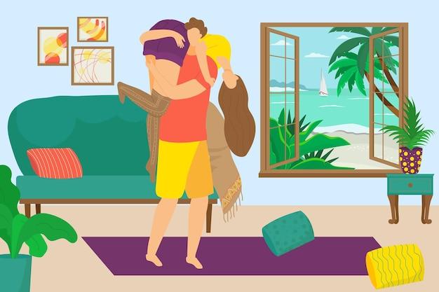 Романтическая милая пара люди характер вместе время любви мужская рука держать женский тропический отпуск f ...