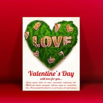 Романтическая прекрасная открытка с текстом зеленого сердца из еловых веток и декоративных элементов, изолированных векторная иллюстрация