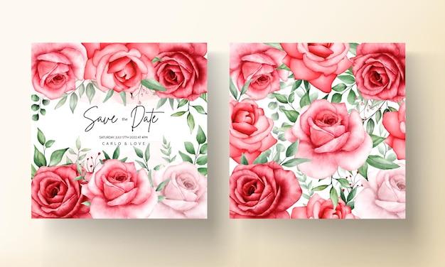 ロマンチックな栗色の花の結婚式の招待カードテンプレート