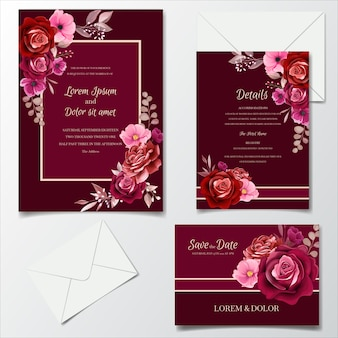 Romantic maroon wedding invitation card template set with rose  cosmos flowers  and leaves
