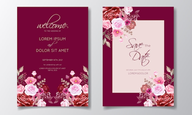 Romantic maroon wedding invitation card template set with rose, cosmos flowers, and leaves