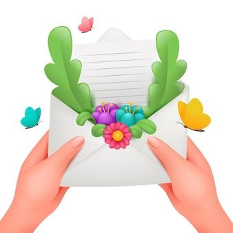 花のフレームのグリーティングカードでロマンチックなメッセージ。女性の手で封筒が大好き