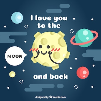 Romantic moon background with planets in flat design