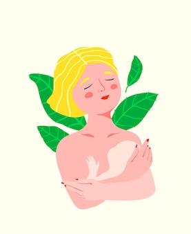 ロマンチックな母性、腕の女性の肖像画で子供を抱いて、若くてかわいい母親の感情的で甘い。