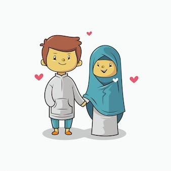 Романтическая пара мусульманских