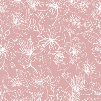 Romantic natural seamless pattern with beautiful blooming flowers of japanese sakura hand drawn with white lines on pink background.