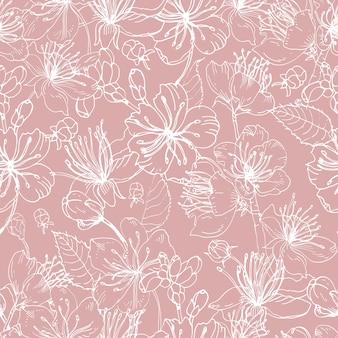 분홍색 배경에 흰색 선으로 그린 일본 사쿠라 손의 아름 다운 피 꽃과 낭만적 인 자연 원활한 패턴입니다.