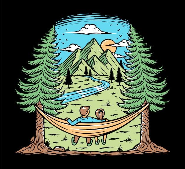 Romantic nature illustration