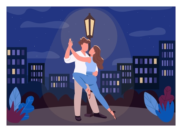 Romantic night flat color . man and woman dance passionately. boyfriend and girlfriend. midnight city park. couple 2d cartoon characters with nighttime cityscape on background