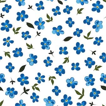 ロマンチックなまたはミニマリストの花が咲く、花のシームレスなパターンの青い野花