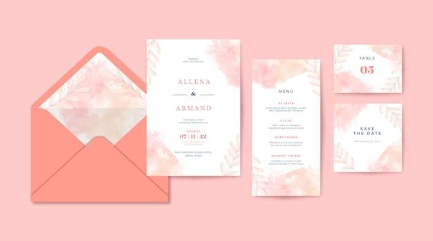 ロマンチックなオレンジとピンクの水彩画の結婚式の招待状のテンプレート
