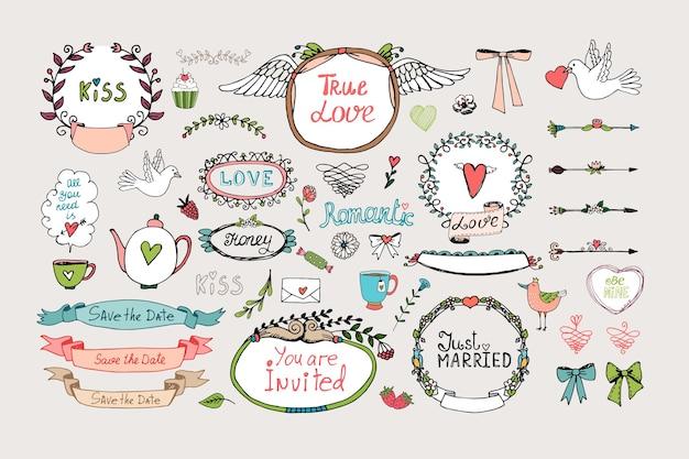 ロマンチックな華やかなフレーム、バナー、リボン。ロマンチックな飾りセット