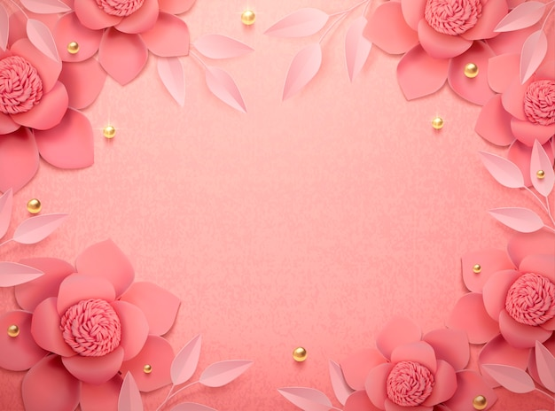 Romantic paper flowers and golden beads background in 3d illustration