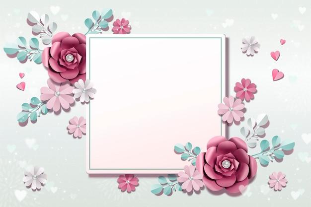 3d 그림에서 파란색 배경에 로맨틱 종이 꽃