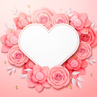 Romantic paper flowers with heart shaped card in 3d illustration