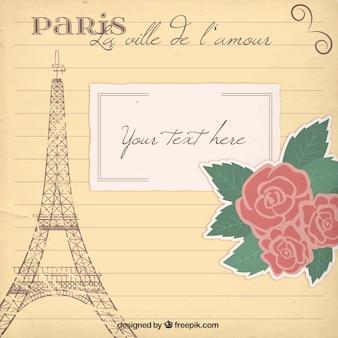Romantic paris card template