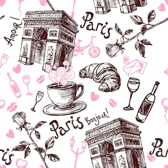 Romantic paris seamless pattern