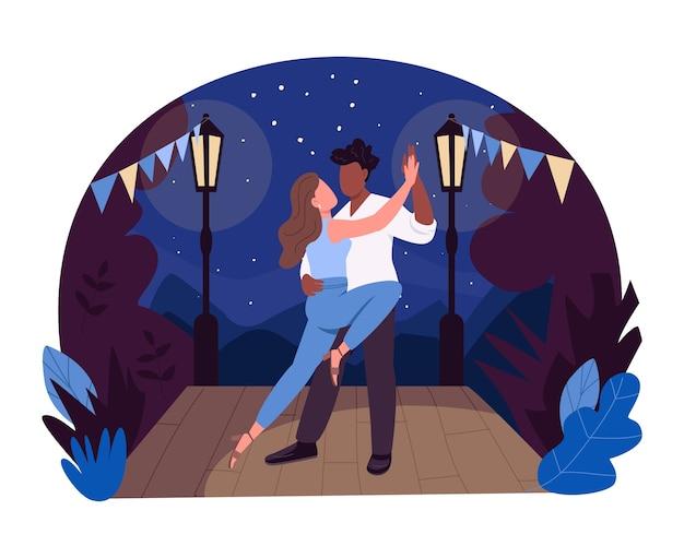 Романтический партнерский танец 2d веб-баннер, плакат. вечерние развлечения. пара танцоров плоских персонажей на фоне мультфильма. выступление танго на сцене патч для печати, красочный веб-элемент