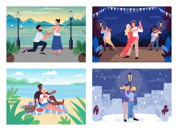Набор плоских цветных иллюстраций романтического времяпрепровождения