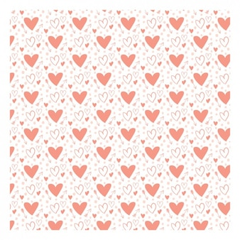 Romantic pattern with hand drawn hearts