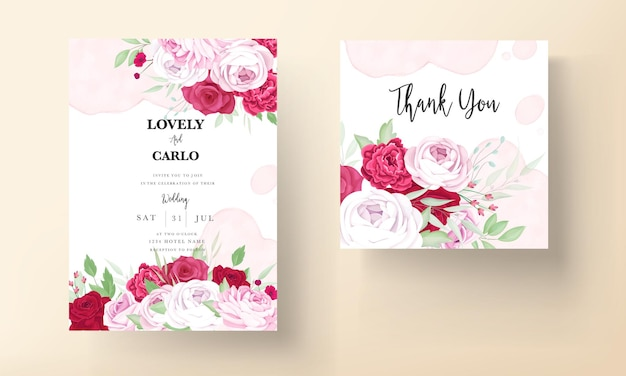Romantic peony and rose red flower frame wedding invitation