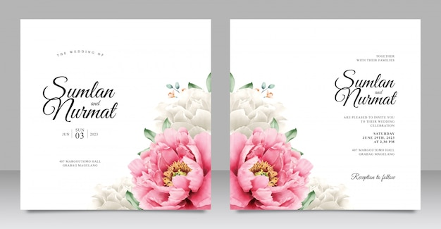 Romantic peony wedding invitation template