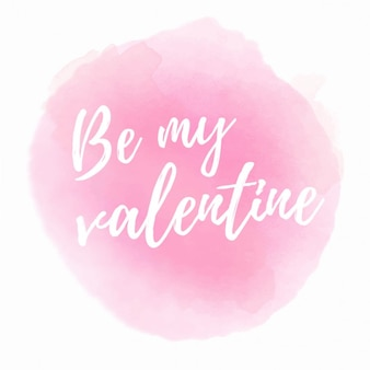 Romantic phrase with pink watercolor