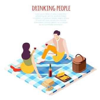 Picnic romantico nella composizione isometrica del parco con l'illustrazione di cibo e bevande