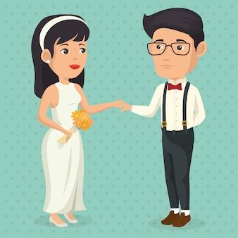 ちょうど結婚したカップルのロマンチックな写真