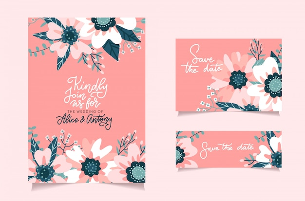 Romantic pink abstract flower bouquet bride wedding invitation template. set of cards with blooming floral background. greeting postcard with lettering. valentine day card. flat  design.