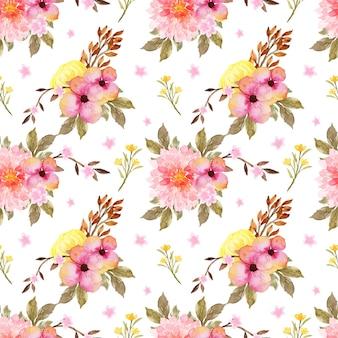 로맨틱 분홍색과 노란색 꽃 원활한 패턴