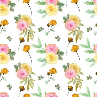 ロマンチックなピンクと黄色の花のシームレスなパターン