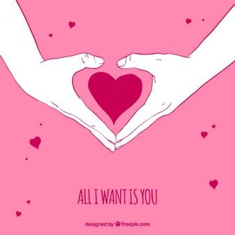 Romantico sfondo rosa di mani facendo un cuore