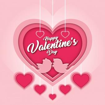 Romantic pink happy valentine paper art card illustration