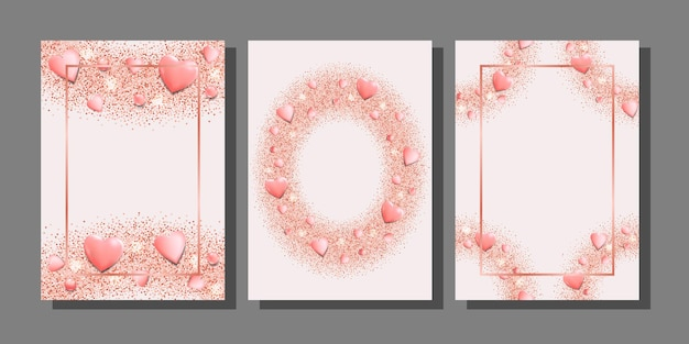 Romantic pink hearts and glitter templates set