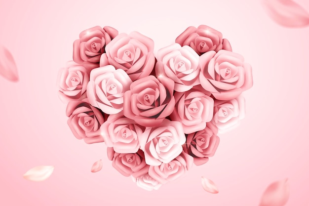 Romantic pink paper roses in heart shaped, 3d illustration