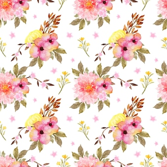 Romantic pink and yellow floral seamless pattern