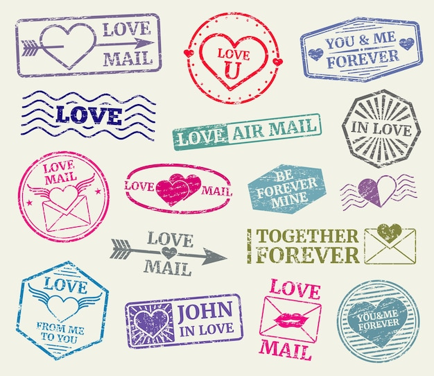 Romantic postage stamp for valentines day card, love letters. set of rubber seal for love mail. vect